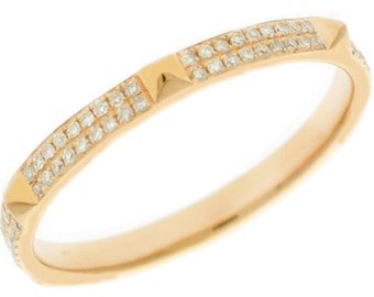 14k Rose Gold Round Cut Diamonds Band Anniversary Pave Set Deco Design 0.26ctw