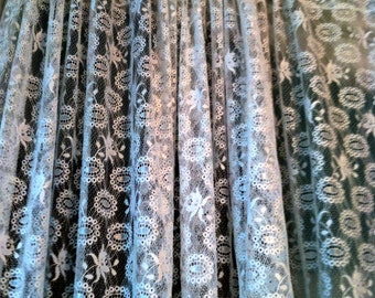 Beautiful White Textured  Lace Panel Curtain Wedding Table Topper Cover