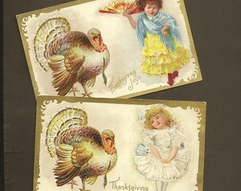 Pair of Vintage Thanksgiving Postcards Girl in Ethnic Dress and Big Turkey Tom – Spain and England (or USA) 1909