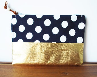 Navy Blue and White Polkadot Cloth and Gold Zipper Pouch