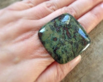 Huge Stone Ring, Square Stone Ring, Big Ring, Chunky Ring, Dragon Blood Stone, Cocktail Ring, Bohemian Ring, Bohemian Jewelry, LAST ONE!