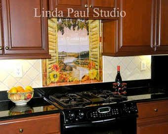 Sunflowers in The Vines Tile Mural Kitchen Backsplash