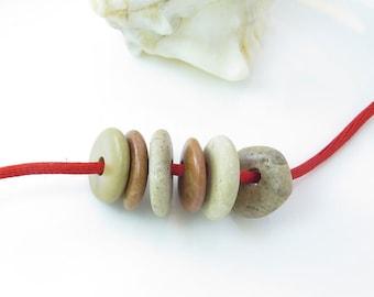 Center Drilled Beach Stones -Medium Roundish Donut Pebbles- 6 psc- Organic Colorful Beads-Natural Stones Surftumbled