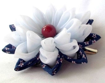 Red White and Blue Floral Hair Clip Tsumami Kanzashi Fabric Origami Hair Flower