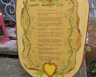 Vintage Wall Plaque Rules for a Happy Married Life Decopoge Large Wall Hanging