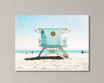 Extra Large Wall Art, Canvas Gallery Wrap, Santa Cruz Beach, California Beach Decor, Beach Canvas Wall Art, Turquoise Aqua Coastal Decor