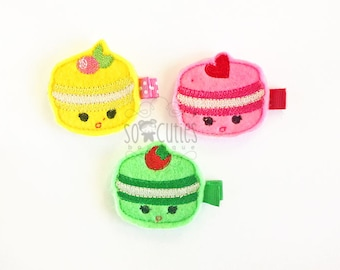 Delicious macaroon Felt embroidery hair clip, baby hair clip, girl hair clip, barrette, felt hair clip