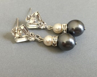 Charcoal Grey Pearl Earrings in Dark Grey and Cream Swarovski Pearls Baguette rhinestone earring posts gray or your choice of color wedding