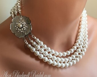 Bridal Necklace Set Swarovski Pearl 3 strands and Fancy Rhinestone Clasp Earrings included wedding necklace jewelry sets