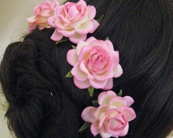 Hair Pins x 5. Pink/Cream Paper Roses. Bridal, Regency, Victorian.