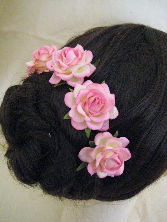 Hairpins x 5. Pink/Cream Paper Roses. Bridal, Regency, Victorian.