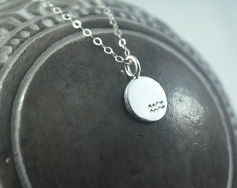 AQUARIUS dainty coin necklace. small silver zodiac necklace. Aquarius symbol jewelry Meaningful thoughtful gift or great layering necklace