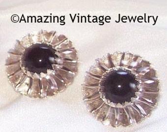 BLACK BEAUTY Earrings * VINTAGE Sarah Coventry * 1962 * Silver * Black * Sunray