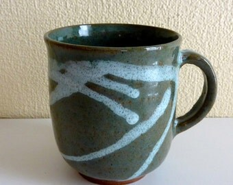 Vintage Art Pottery Mug - Glazed over Red Clay - Signed and Dated on Bottom