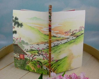 Serene River Scene Meditation Journal from Vintage Chinese Calendar Watercolor Painting