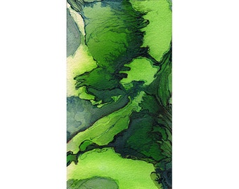 Watercolor art print, green abstract, map inspired, Viridian Dales