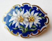 Vintage 30s Schumann German Art Deco Edelweiss Scalloped Porcelain Brooch Pin