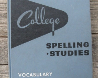 college spelling studies vocabulary building 1956 hm rowe mid century movie prop photo prop