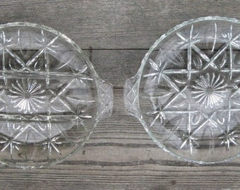 anchor hocking pressed glass platters clear glass set of 2 with handles mcm serving ware 9 inch platters