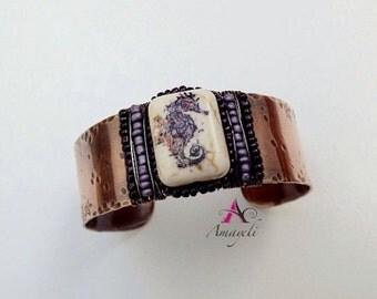 Wide copper cuff, Boho cuff, Seahorse bracelet, Ocean theme jewelry, seahorse jewelry, copper cuff, beaded cuff, statement cuff