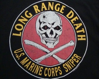Vintage US Marine Corps Sniper Rifle Long Range Death 1991 90's War Military 1991 90's Marines T Shirt XL