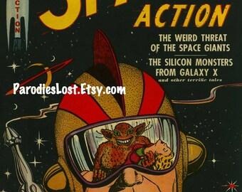 SPACE ACTION Pulp Vintage Sci Fi Art Print Astronaut Space Alien Mars Moon