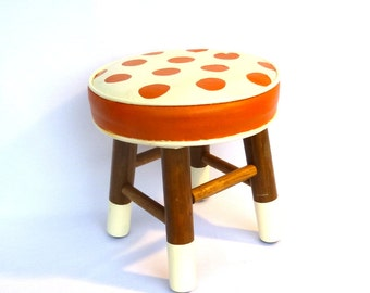 ORANGE DOT Up Cycled STOOL