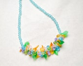1960s Fruit salad plastic charm necklace / blue green yellow