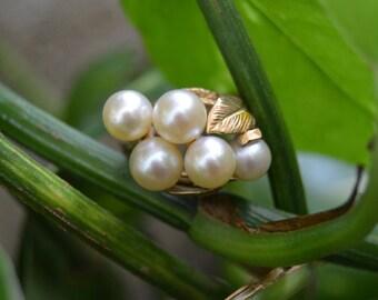 MING'S Honolulu (5) White Akoya PEARLS w Leaf Design 14k Gold RING size 6.4
