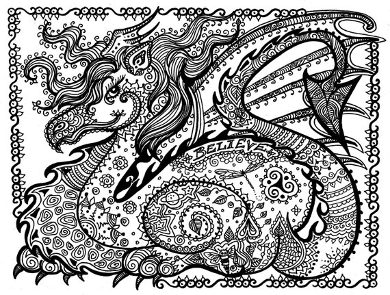 Printable coloring pages and dragons ~ Printable Coloring Page DRAGON Instant Download Pay and Color