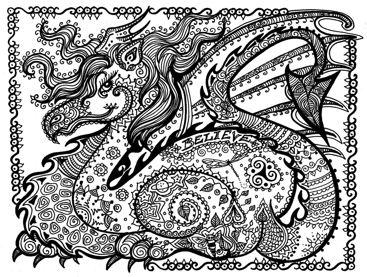 Printable Coloring Page DRAGON Instant Download Pay and Color