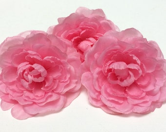 Artificial Flowers - THREE Cotton Candy PINK Ranunculus - Artificial Flowers