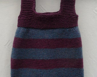 Dress/tunic/pinafore/sweater for a baby girl, hand knitted in deep plum and teal yarn, 16 Ins chest, approx 0-6 months