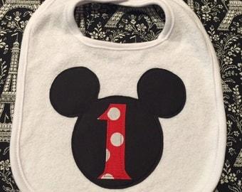 First Birthday Mickey Mouse Inspired Bib