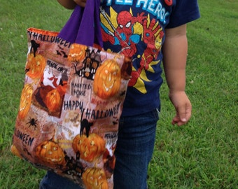 Trick or Treat Bag Jack o Lanterns and Cats