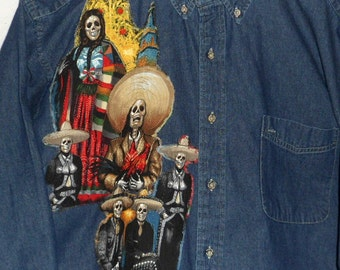 Day-Of-The-Dead Size 2X Shirt Dia de los Muertos Shirt Mariachi All Souls Day Fabric Art Shirt Gift for Him One of a Kind Design