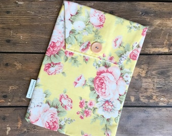 Diaper and Wipes Case Holder  -Yellow Floral- Ready to Ship