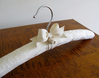 Bridal Hanger, Wedding Hanger, Padded Hanger, Ivory and White Cotton Damask, Vintage Buttons and Natural Organic Ribbon and Rosette