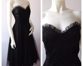 VTG 80s Black Tulle GUNNE SAX Polka Dot Prom Dress | 80s does 50s Party Dress
