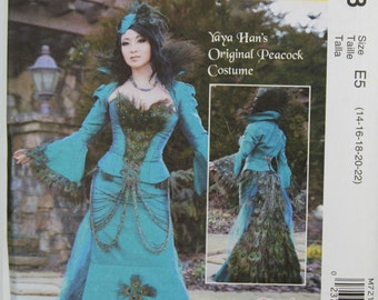Size 14 16 18 20 22  Yaya Hans Original Peacock Jacket Corset Skirt Detatchable Train McCalls 7218 Costume Misses Women Uncut Sewing Pattern