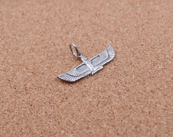EGYPTIAN OPEN WORK Real Silver Winged Isis Pendant