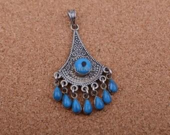 Lrg Ethnic Egyptian Bedouin Siwa Solid Silver Turquoise Pendant Christmas Gift