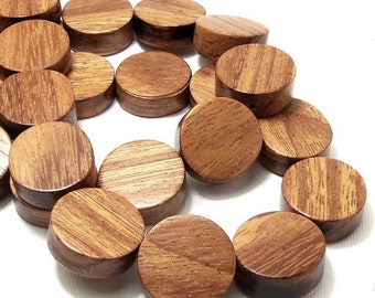 Bayong Wood Coin Bead, 20mm, Thick, Flat Edge, Natural Wood Bead, Round, Circle, Smooth, Large, 10pcs - ID 2123