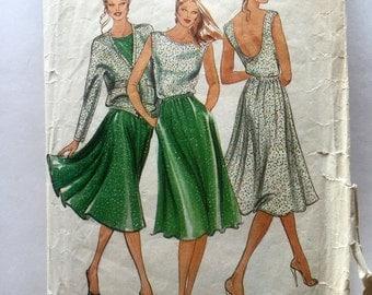 80s Butterick 4396 Sun Dress with Scoop Back, Flared Skirt and Jacket Designer Ter et Bantine- Size 8 Bust 31