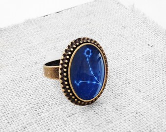 """Get 15% OFF - Handmade Resin """"Pisces"""" Constellation Sign Antique Bronze Plated Oval Adjustable Ring - Labor Day SALE 2017"""