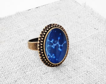 """Get 15% OFF - Handmade Resin """"Sagittarius"""" Constellation Sign Antique Bronze Plated Oval Adjustable Ring - Father's Day SALE 2017"""