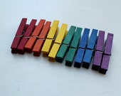 Rainbow Clothespins - colored wooden clothespins - red, orange, yellow, green, blue, purple