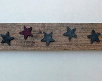 7 Lucky Stars - distressed, reclaimed wood block with blue and red wooden stars, wall hanger, shelf decor