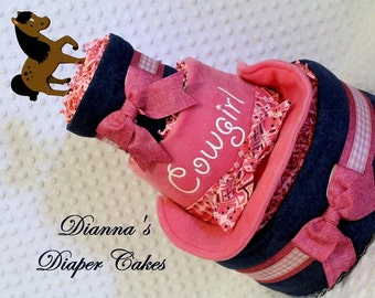 Cowgirl Baby Diaper Cake Pink Shower Gift or Centerpiece