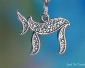 Chai Charm Sterling Silver Jewish Word Symbol for Life Solid .925